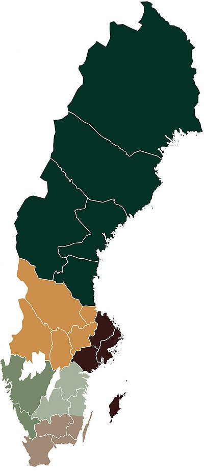Map over Skogssällskapets six regions in Sweden.